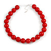 20mm Chunky Red Acrylic Bead Necklace in Silver Tone - 44cm L/ 9cm Ext