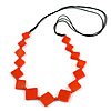 Long Orange Bone Square Bead Black Cotton Cord Necklace - 82cm L