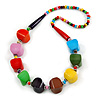 Chunky Multicoloured Wood Bead Necklace - 68cm L