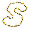Long Yellow Wood, Bone Beaded Black Cord Necklace - 106cm L