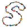 Long Multicoloured Wood, Bone Beaded Black Cord Necklace - 106cm L