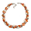 Exquisite Faux Pearl & Shell Composite Silver Tone Link Necklace In Peach Orange/ White - 40cm L/ 5cm Ext