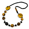 Stylish Animal Print Wooden Bead Necklace (Yellow/ Black) - 80cm Long