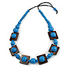 Chunky Square and Round Wood Bead Cotton Cord Necklace (Blue/ Brown) - 74cm L