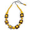 Chunky Square and Round Wood Bead Cotton Cord Necklace (Yellow/ Brown) - 74cm L