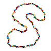 Multicoloured Wood and Semiprecious Stone Long Necklace - 96cm Long