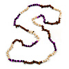 Purple/ Natural/ Brown Wood and Semiprecious Stone Long Necklace - 96cm Long