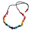 Multicoloured Wood Bead and Sea Shell Nugget Black Cotton Cords Necklace - 72cm Long