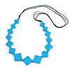 Long Bright Blue Bone Square Bead Black Cotton Cord Necklace - 82cm L