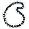 Long Chunky Dark Blue Wood Bead Necklace - 82cm L