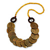 Yellow/ Brown Wood Button Bead Necklace - 80cm L
