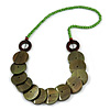 Grass Green/ Olive Green/ Brown Wood Button Bead Necklace - 80cm L