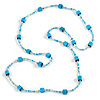 Long Wood Cube and Small Glass Bead Necklace (Light Blue/ Teal/ Transparent/ White) - 124cm Long