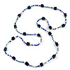 Long Wood Cube and Small Glass Bead Necklace (Dark Blue/ Transparent/ White) - 124cm Long