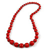 Red Graduated Wooden Bead Necklace - 70cm Long