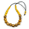 Stylish Graduated Wood Bead Cotton Cord Necklace In Yellow/ Black - 64cm Long