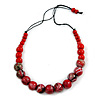 Stylish Graduated Wood Bead Cotton Cord Necklace In Red/ Black - 64cm Long