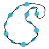 Long Light Blue/ Turquoise Wood and Resin Bead Black Cord Necklace - 100cm Long