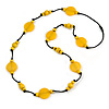 Banana Yellow  Wood and Resin Bead Black Cord Necklace - 100cm Long