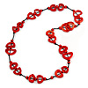 Red Bone, Wood Beaded Black Cotton Cord Long Necklace - 88cm L