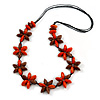 Orange/ Brown Wood Flower Black Cotton Cord Necklace - 68cm Long