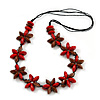 Red/ Brown Wood Flower Black Cotton Cord Necklace - 68cm Long