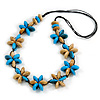 Light Blue/ Teal/ Natural Wood Flower Black Cotton Cord Necklace - 68cm Long