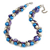 Exquisite Faux Pearl & Shell Composite Silver Tone Link Necklace In White/ Blue - 40cm L/ 5cm Ext