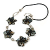 Black Sea Shell Floral Faux Leather Cord Necklace - 74cm Long