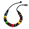 Chunky Multicoloured Round and Button Wood Bead Cotton Cord Necklace - 66cm Long