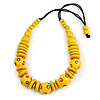 Banana Yellow Ball and Button Wood Bead Black Cotton Cord Necklace - 66cm Long