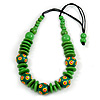 Lime Green Ball and Button Wood Bead Black Cotton Cord Necklace - 66cm Long