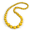 Yellow Graduated Wooden Bead Necklace - 70cm Long