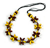 Yellow/ Brown Wood Flower Black Cotton Cord Necklace - 68cm Long