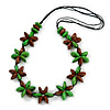 Green/ Brown Wood Flower Black Cotton Cord Necklace - 68cm Long