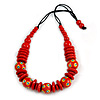 Red Ball and Button Wood Bead Black Cotton Cord Necklace - 66cm Long