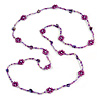 Long Purple/ Transparent Coloured Glass Bead Sea Shell Nugget  Floral Necklace - 132cm Length