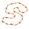 Long Orange/ Peach/ Transparent Glass Bead Shell Nugget Floral Necklace - 132cm Length