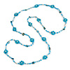 Long Light Blue/ White/ Transparent Glass Bead Shell Nugget Floral Necklace - 132cm Length