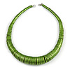 Chunky Glitter Green Wood Button Bead Necklace - 57cm Long