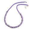 Purple Glass Bead with Silver Tone Metal Wire Element Necklace - 70cm L/ 5cm Ext