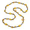 Long Banana Yellow Wood, Bone Beaded Black Cord Necklace - 106cm L