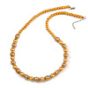Yellow Glass Bead with Silver Tone Metal Wire Element Necklace - 70cm L/ 5cm Ext