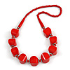 Chunky Red Wood Bead Necklace - 68cm L