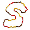 Red/ Yellow/ Brown Wood and Semiprecious Stone Long Necklace - 96cm Long