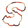 Orange/ Natural/ Brown Wood and Semiprecious Stone Long Necklace - 96cm Long