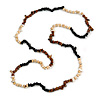 Black/ Natural/ Brown Wood and Semiprecious Stone Long Necklace - 96cm Long