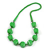 Chunky Bright Green Wood Bead Necklace - 68cm L