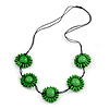 Bright Green Wood Bead Floral Necklace with Black Cotton Cords - 70cm Long