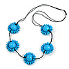 Light Blue Wood Bead Floral Necklace with Black Cotton Cords - 70cm Long